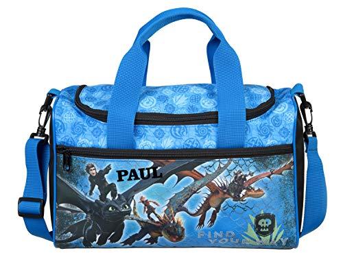 kleine Sporttasche mit Namen | inkl. NAMENSDRUCK | Motiv Dragons Drache in blau & schwarz | Personalisieren & Bedrucken | Reisetasche für Jungen