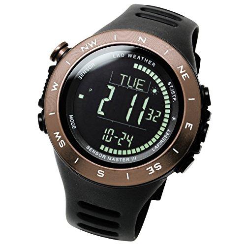 LAD-WEATHER Swiss Sensor Watch Altimeter Barometer Compass Climbing Trekking Camping Sports Outdoor Watches (Brown Black)