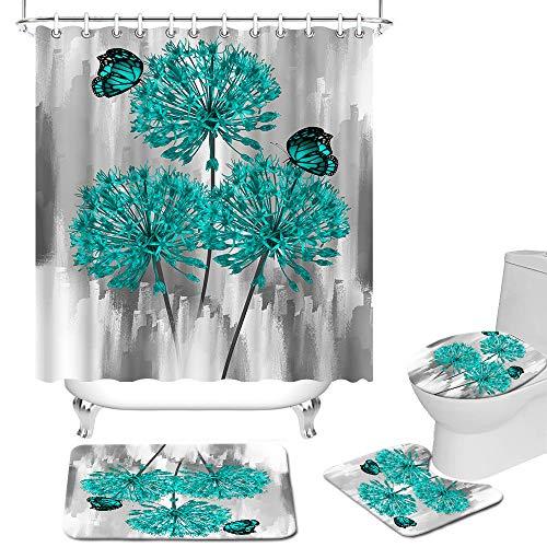 Fushvre Teal Flower Bathroom Set 4 Piece Aqua and Grey Bathroom Decor Elegant Shower Curtains for Bathroom Sets with Rugs Butterfly Floral Shower Curtain Set