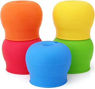 maxin Silicone Sippy Lids Pack of 5, Silicone Spout Makes Cup into Spill-Proof Sippy Cup for Babies and Toddlers FDA Approved.