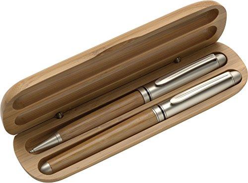Schreibset/Kugelschreiber und Rollerball aus Bambus im Bambus Etui mit individueller Gravur