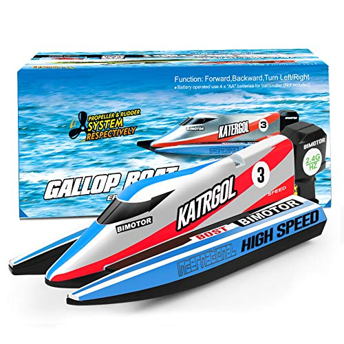 GizmoVine Ferngesteuertes Boot Mini RC Boot 2.4G RC Speed Rennboot Sommer Wasser Spielzeug für Kinder (4022 Barco Azul)