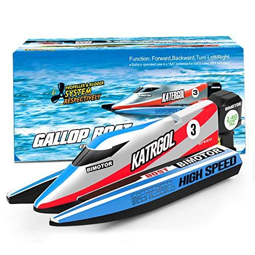 GizmoVine Mini Barco Teledirigido Lancha Teledirigida RC Boat 2.4G High Speed Racing Boat Summer Water Toy para niños (4022 Barco Azul)
