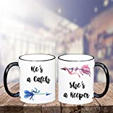 Sp567encer HES Ein catchShes Ein - Juego de Tazas de café y Vasos de San Valentín