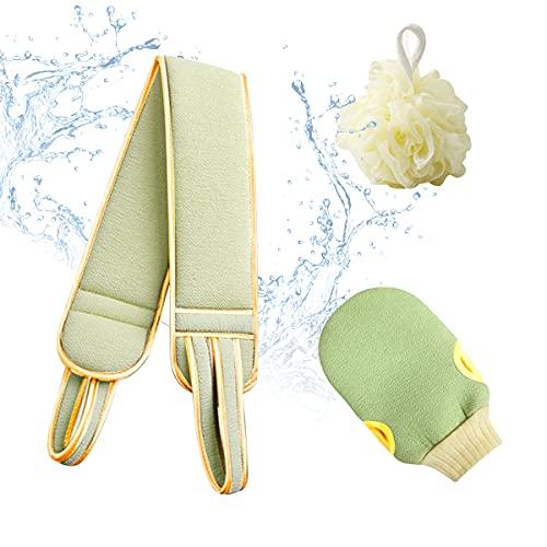 Sooair Frotamiento Toalla Trasera,3 Piezas Cepillos de Baño Agradable para la Piel Cepillo Trasero Hecho de Seda Vegetal Cinturón Toalla Apto para Bañarse Toalla de Baño (Verde Mostaza)