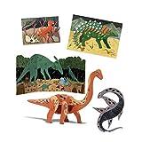 Djeco- Cofre multiactividades El Mundo de los Dinosaurios Formas y Colores (DJ09331)