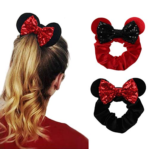 Price comparison product image YanJie Women Mouse Ears Sequin Bows Velvet Scrunchies Elastic Rubber Hair Band Cute Hair Ties Rope Ponytail Holder Hair Accessories Sparkle Bow Girl(2pcs / Pack)