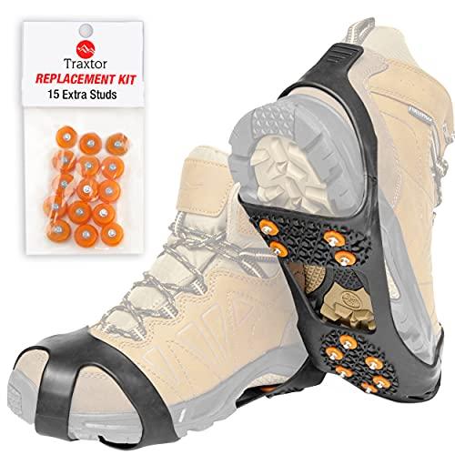 Traxtor Schuh Spikes Anti Rutsch - Schuhe für Winter umrüsten - Schuhkrallen für EIS und Schnee - Steigeisen als Gleitschutz bei Glatteis, Größe L - inkl. 15 Ersatz-Schneespikes