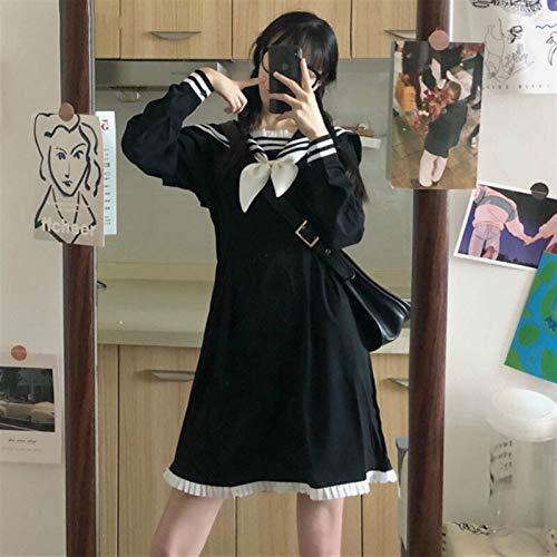 Lolita Vestido Streetwear Shirt Vestido de mujeres Mini A-Line Diseño de arco de longitud completa Cuello de marinero Patchwork JK High Cintura Preppy Style Estudiantes Harajuku Encantador Nuevo Traje