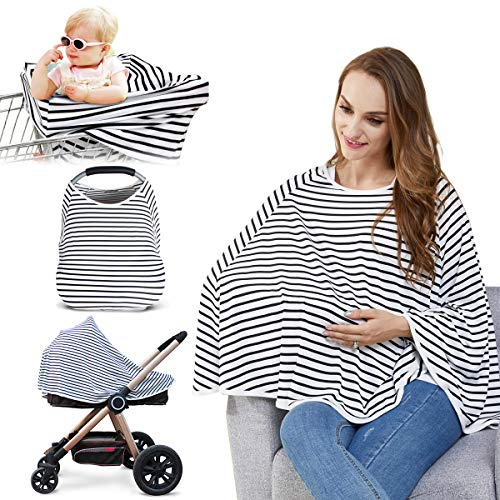 Baby Nursing Cover & Nursing Poncho - Multi Use Cover for Baby Car Seat Canopy, Shopping Cart Cover, Stroller Cover, 360° Full Privacy Breastfeeding Protection,Baby Shower Gifts for Boy&Girl By LUCINE