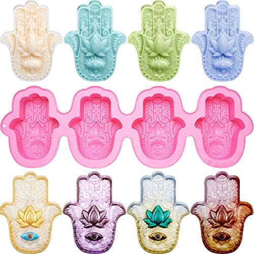 Hamsa Silicone Soap Molds 4 Cavities Hand of Fatima Silicone Molds Lotus in The Palm Soap Mold product image