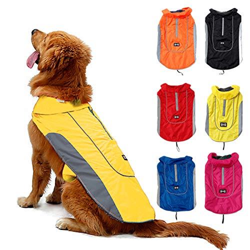 TFENG Reflektierend Hundejacke für Hunde, Wasserdicht Hundemantel Warm gepolstert Puffer Weste Welpen Regenmantel mit Fleece (Größe M, Gelb)