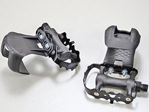 Singlespeed Fahrradpedale mit Schlaufen aus Eloxiertem Aluminium komplett schwarz Pedalhaken ohne Riemen Pedale