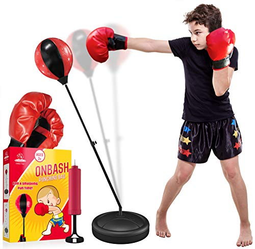 EMAAS OnBash Adjustable Punching Bag Set for Kids with Boxing Gloves & Hand Pump - Great for Girls & Boys- Portable & Long-Lasting