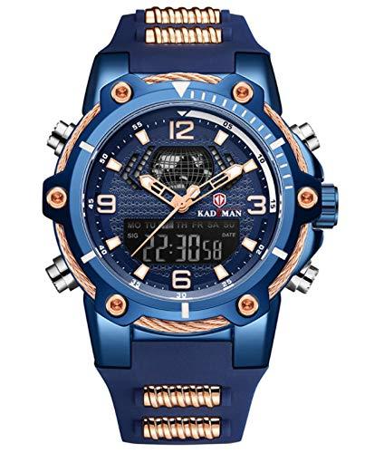 MLHXHX Reloj despertador para hombre, calendario, multifunción, impermeable, cinta azul