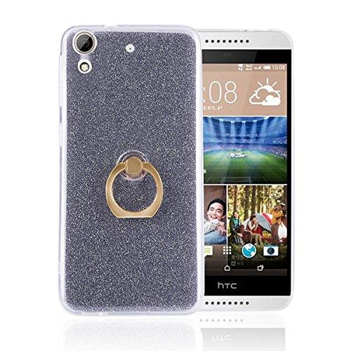 pinlu® Etui Schutzhülle Für HTC Desire 626G Soft Silikon TPU Ultra Thin Protective Cover Glitzer Rück mit Abnehmbarer Boden Skin und Ring-Schnalle Design Schwarz