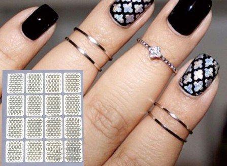Pochoirs autocollants pour nail art - 3 feuilles 26 34 15 - Pour aérographe, vernis à ongles, paillettes