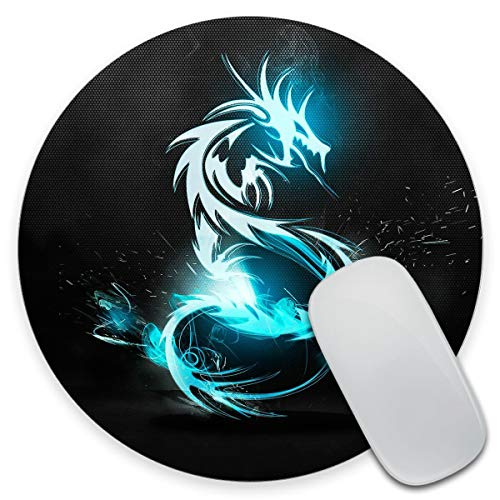 Amcove Mousepad Unique Design Mouse Pad Cool Blue Dragon Round Gaming Mousepad 7.9 x 7.9 x 0.12 Inch