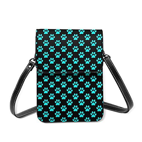 Blue Animal Paw Prints Crossbody Bag Phone Bags Purse Sports pulsera Outdoor Sweat-Proof Small Compact Handbags Crossbody Pass Phone Holder Bag Shoulder Bag for Women Girls Lady