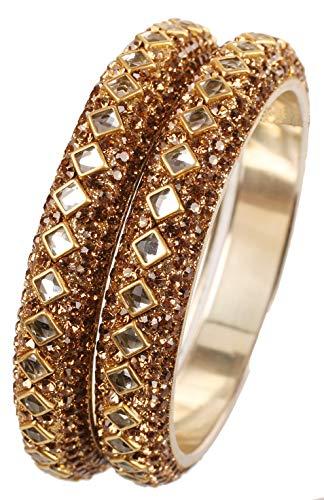 Touchstone Armreif Kollektion quadratische Form facettiert Kundan Look gelb Faux Citrin Designer Schmuck Metall Armreifen Armbänder für Damen 2.37 Set 2 Gold
