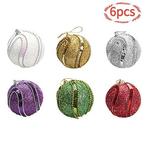 FGASAD 6 Stück Kugel Christbaumschmuck-Set, bemalte Weihnachtskugeln, bunte goldene Trommeln, Christbaumschmuck, Dekokugeln