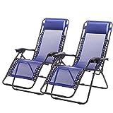 Wichai Shop New Zero Gravity Chairs Case of 2 Lounge Patio Chairs Outdoor Yard Beach
