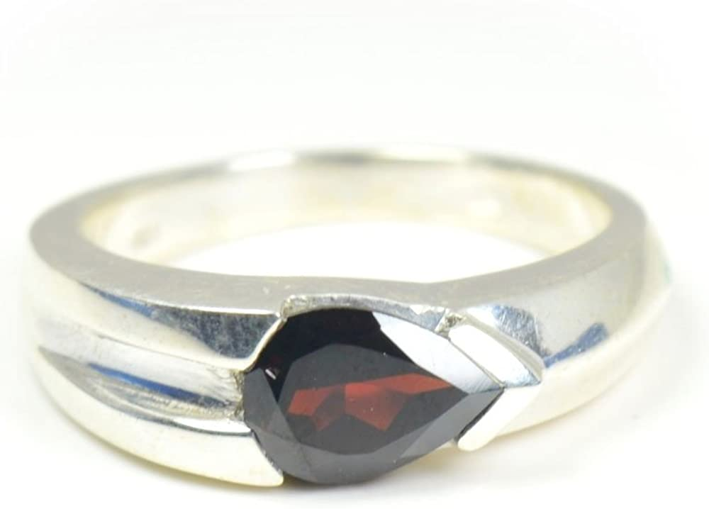 55Carat Genuine Pear Beauty products Shape Birthstone Garnet Cheap mail order shopping Sterling Band Ring