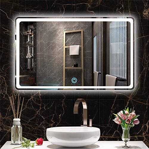 AYYEBO Rectangular Espejo Pared Baño LED Regulable Espejo Tocador Maquillaje Luces Blancas/Cálidas Ajustables Instalación Horizontal (Size : 60x80cm)