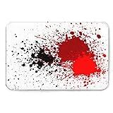 Doormat, Heavy Duty Indoor and Outdoor Doormat,Abstract Splatter Blood red Black Color Background,Easy to Clean, Terrace, Decoration, Busy Area 2032in