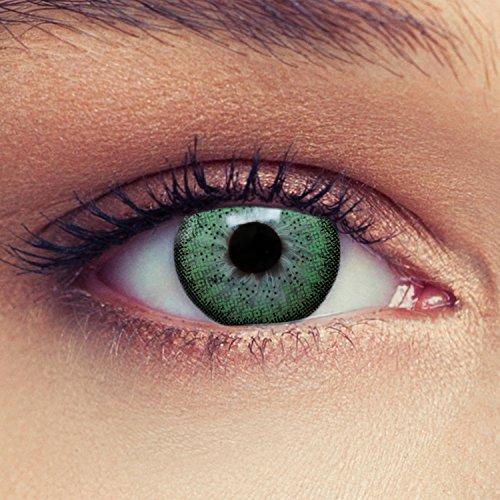 2 Grüne Kontaktlinsen mit Stärke natürlich wirkende farbige Drei Monatslinsen + Gratis Behälter -1,00