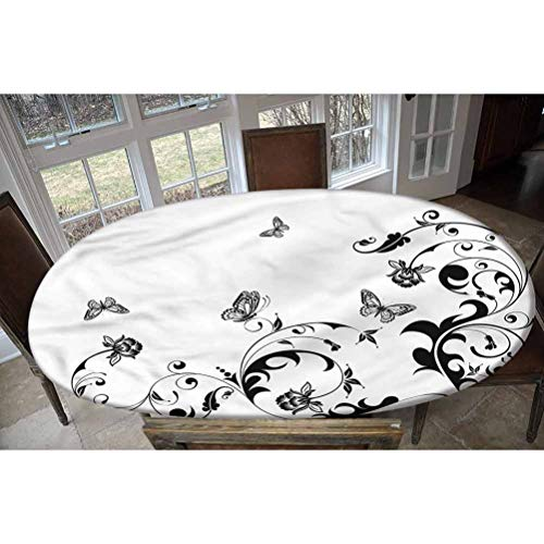 LCGGDB Butterfly Elastic Edged Polyester Fitted Tablecolth -Vintage Monochrome Design- Oval/Olbong Fitted Table Cover - Fits Oval/Olbong Tables up to 48'x68',The Ultimate Protection for Your Table