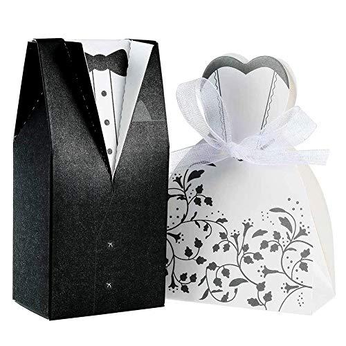 INTVN 100pcs Boîte à Dragées pour Mariage, 50 pcs Noir Jeune marié + 50 pcs Mariée Blanc pour Mariage, Chocolat Bonbons et boîtes Cadeau