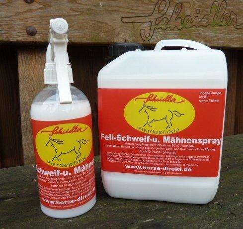 Horse-Direkt Fellspray, Mähnenspray, Schweifspray Glanzspray, 3 Liter (2,5 Liter Kanister + 500 ml. Sprühflasche)