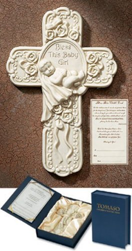 Bless This Baby Girl 7' White Resin Wall Cross with Deluxe Gift Box Religious Nursery Decor