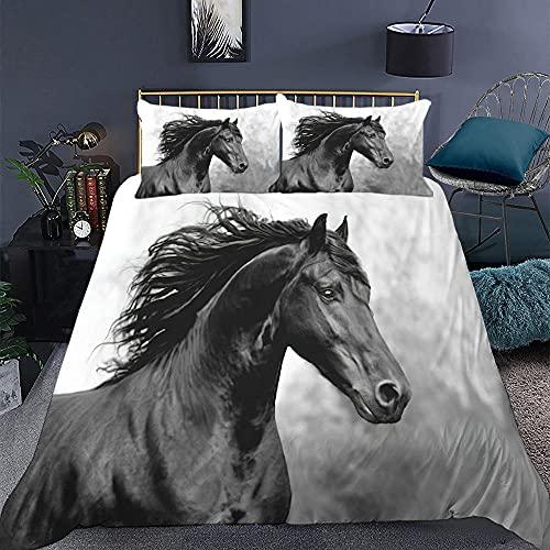 KIrSv Jun Horse Funda de Almohada con diseño de impresión en 3D, la Ropa de Cama de Animales Favorita para niños y niñas, Adecuada para una Cama Doble tamaño king-13_200 * 200cm (3 Piezas)