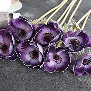 HYJMJJ 1pc PU Anemone Real Touch Artificial Flower Wedding Bridal Rose Bouquet Photography Props for Garden Ornament Home Decoration (Color : Purple)