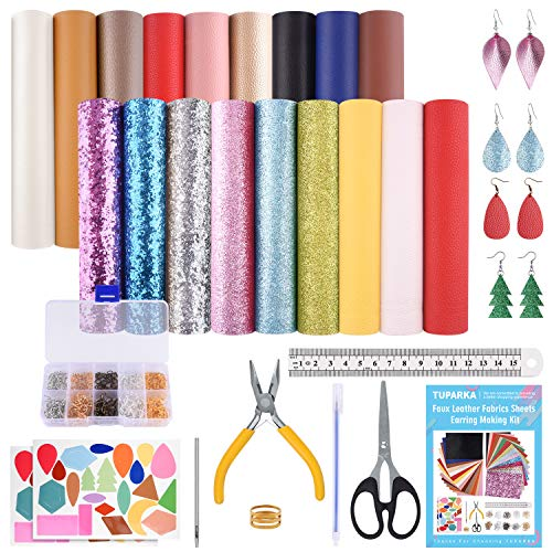 TUPARKA 18 Colors A5 Size Faux Leather Fabric Sheet Include 4 Style Leather Fabric, with 150 Set Earring Hooks and Jump Rings, Cut Molds and Pliers for Earrings Making Crafts