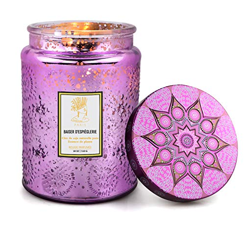 Scented Jar Candles Mother's Day Gifts for Mom Women, 18 oz Soy Wax Aromatherapy Large Candles for Home Scented,125 Hours Stress Relief Essential Oils Candles for Home Decor Bathroom,Yoga