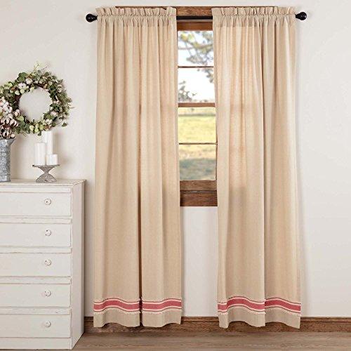 "Farmhouse Red Grain Sack Stripe Panels, 84"" Long, Bedroom Dining Room Livingroom Drape Curtains, Beige Chambray"