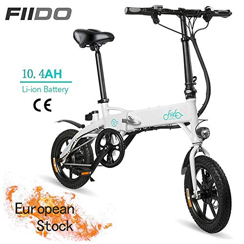 OUXI FIID0 D1 Electric Bike,Folding Electric Bike for Adults 250W 36V with LCD Screen 14inch Tire Lightweight 17.5kg/38.58lbs Suitable for Men Women City Commuting