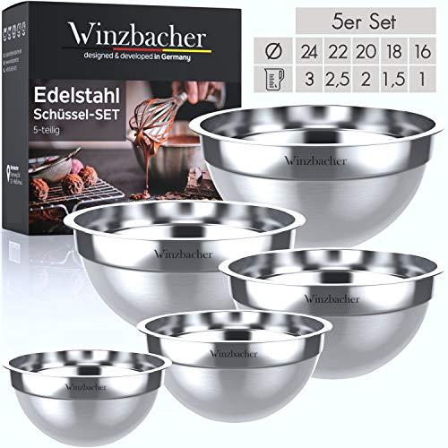 Winzbacher® Premium Edelstahl Schüsselset [5er Set] 1l + 1.5l + 2l + 2.5l + 3l | Spülmaschinenfest | Schüssel, Schale, Rührschüssel, Salatschüssel, Servierschüssel, u.v.m. | leicht stapelbar