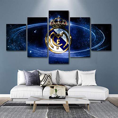 JSBVM 5 Piezas Impresión de la Lona Real Madrid Football Club Modular Fondos de Pantalla Hogar Imagen Póster Pintura Decorativo Salón Dormitorio,B,30×40×2+30×60×2+30×80×1