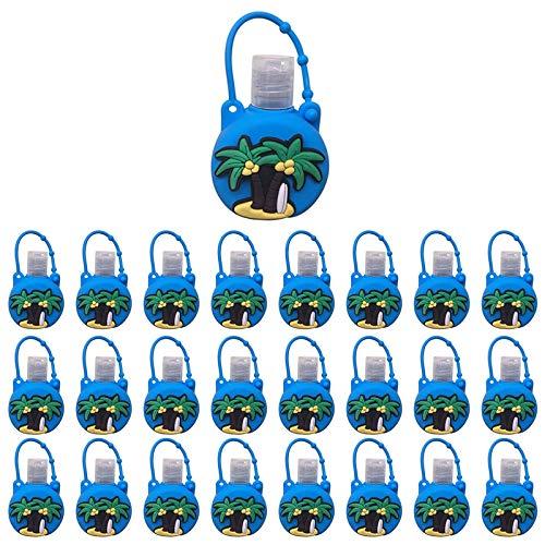 Xniral 25 STK Kinder Seife Wasserflasche Schlüsselbund 30ml Leere Reise Kunststoff Schlüsselbundträger mit Silikon Cartoon Fall auslaufsichere nachfüllbare Behälte(F)