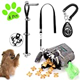 D-buy 4-in-1 Dog Training Set, Puppy Training Treats- Dog Treat Training Pouch, Dog Whistle, Dog Doorbells, Dog Clicker, Ideal Gift for First Time Pet Owners, Training Dog Owners (Dark Gray)