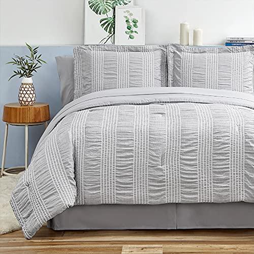 Bedsure Queen Comforter Set 8 Piece Bed in A Bag Bedding Set Stripes Seersucker Bed Sets Soft Lightweight Down Alternative Grey Full 88x88 inch