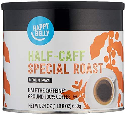 Amazon Brand - Happy Belly Half Caffeine Canister Coffee, Medium Roast, 24 Ounce