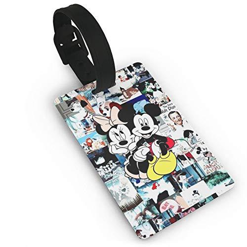 DNBCJJ Etiquetas de equipaje para maletas Minnie & Mickey Mouse etiqueta de equipaje, con nombre ID maleta para mujeres, hombres y niños accesorios de viaje