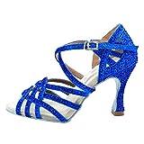 AOQUNFS Zapatos de Baile de Salón para Mujer/Niña Latino Salsa Bachata Zapatos de Baile Tacón Alto,L357-Azul-6,EU38