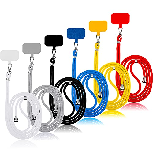 6 Pieces Crossbody Patch Phone Lanyard Phone Tether Safety Strap Universal Cell Phone Lanyard with Adjustable Nylon Neck Strap for Women Men Most Smartphones Card Key, Black Blue Grey Red Yellow White