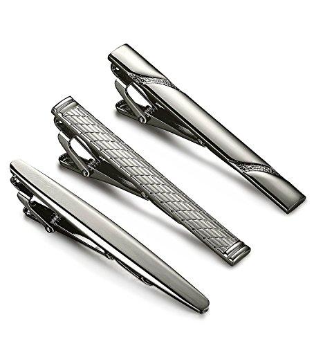 BE STEEL 3Pcs Herren Krawattenklammer Krawattennadel für Männer Krawatte Schwarz Business Hochzeit Tie Clip Set Vatertagsgeschenk